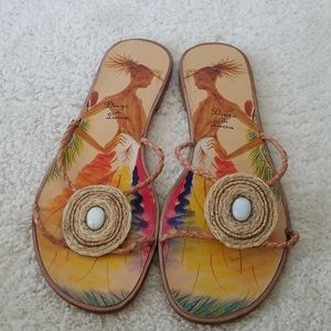 Diego di Lucca Detailed Tribal Look Flat Sandals